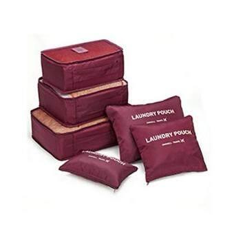 กระเป๋าจัดระเบียบเสื้อผ้า สำหรับเดินทาง เซ็ท 6 ชิ้น Organizing Bag Set 6 PCS Travel Bag Luggage (สีม่วง)