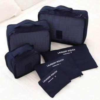 กระเป๋าจัดระเบียบเสื้อผ้า สำหรับเดินทาง เซ็ท 6 ชิ้น Organizing Bag Set 6 PCS Travel Bag Luggage (สีน้ำเงิน)