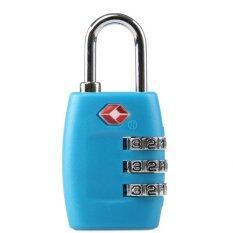 6 ชิ้น 3 Digit Tsa กระเป๋าเดินทางกระเป๋าเดินทางกุญแจล็อค สี สีฟ้า จีน