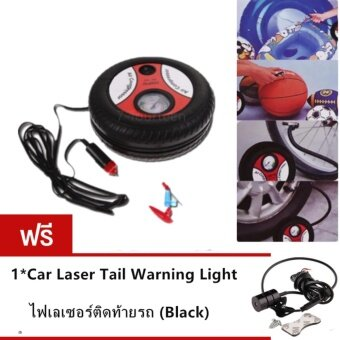 7-fourteen ปั้มลมไฟฟ้าสำหรับรถยนต์ แบบพกพา รูปล้อรถAir Pump 260PSI 12 V(Black-Orange) แถมฟรี Car Laser Tail Warning Light ไฟเลเซอร์ติดท้ายรถ (Black)*1pcs