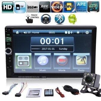 7 นิ้ว 2 DIN Bluetooth Touch Screen วิทยุรถยนต์ MP4 พร้อมกล้อง แฮนด์ฟรีสำหรับโทรศัพท์ Android