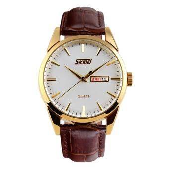 แบรนด์ควอตซ์นาฬิกาข้อมือธุรกิจหนังสายคล้องกันน้ำนาฬิกานาฬิกาเครื่องแต่งกายชาย 9073 - นานาชาติ-