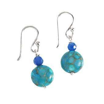 เซซี บอน ต่างหูทำด้วยเงินแท้ 925 ประดับลูกปัดหิน รุ่น AS-7811 - (สีฟ้า/น้ำเงิน)