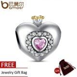 ขาย ซื้อ ออนไลน์ Authentic 925 Sterling Silver Princess Heart Pink Cz Charm Fit Bracelet With 14K Gold Jewelry Making Pas005