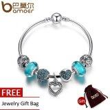 ราคา Bamoer Romantic Vintage Bracelets Silver Plated Heart Pendant Bracelets With Blue Beads Fit Bracelets Jewelry Pa3801 17 จีน