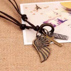 โปรโมชั่น Aa Fashion สร้อยคอ แฟชั่น สร้อยคอหนัง จี้ปีกนก ไม้กางเกง ความหมายดีดี ของ อิสระภาพ เครื่องประดับ Necklace With Pendant Wing Jesus Cross Wanna Be Free Freedom Necklace Good Meaning Gud Meanings ถูก