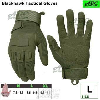 ABC Blackhawk ถุงมือมอเตอร์ไซค์ TACTICAL ถุงมือเต็มนิ้ว ถุงมือหนัง เรโทร ถุงมือทหาร ถุงมือยิงปืน กันกระแทก ระบายอากาศ (สีดำ สีเขียวทหาร) M L XL