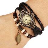 ราคา Aliz นาฬิกาข้อมือหนังแฟชั่นวินเทจผู้หญิง สีน้ำตาล Thailand