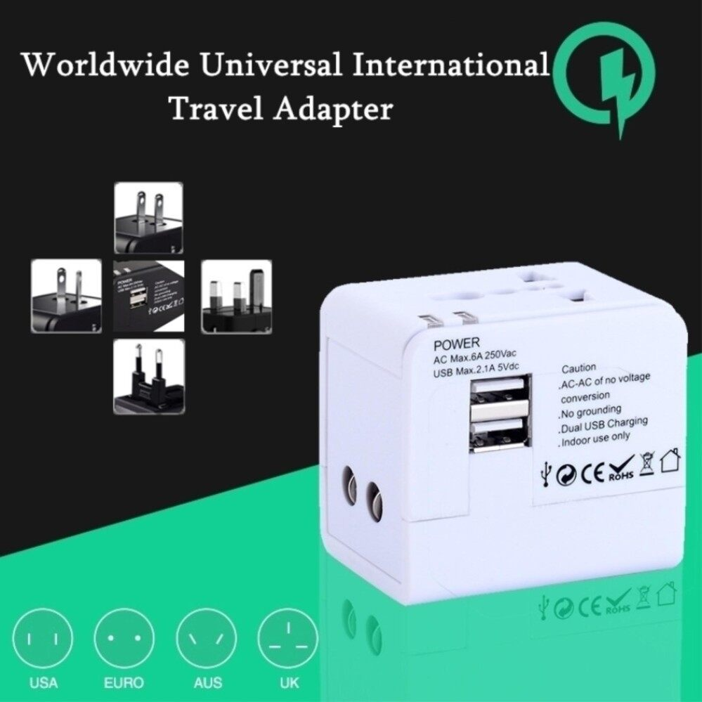 All In One Universal Travel adapter Switch Plug Adapter with 2 USD LED indicator for AU US UK EU Converter USB Wall Power Socket