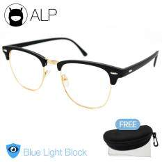 Alp Eyeglasses แว่นกรองแสง กันรังสี Uv, Uva, Uvb กรอบแว่นตา แว่นสายตา แว่นเลนส์ใส Clubmaster Style รุ่น Alp-E024-Bkt-Gd-Uv (black/clear).