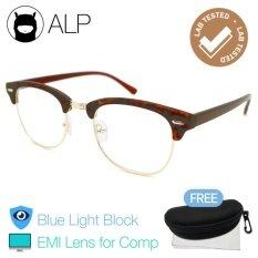 โปรโมชั่น Alp Emi Computer Glasses แว่นคอมพิวเตอร์ กรองแสงสีฟ้า Blue Light Block กันรังสี Uv Uva Uvb กรอบแว่นตา แว่นสายตา แว่นเลนส์ใส Clubmaster Style รุ่น Alp E024 Brch Gd Emi Brown Clear ใน Thailand