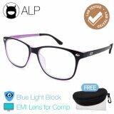 ส่วนลด Alp Emi Computer Glasses แว่นคอมพิวเตอร์ กรองแสงสีฟ้า Blue Light Block กันรังสี Uv Uva Uvb กรอบแว่นตา แว่นสายตา แว่นเลนส์ใส Square Style รุ่น Alp E019 Bks Pk Emi Black Clear Alp