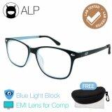 ราคา Alp Emi Computer Glasses แว่นคอมพิวเตอร์ กรองแสงสีฟ้า Blue Light Block กันรังสี Uv Uva Uvb กรอบแว่นตา แว่นสายตา แว่นเลนส์ใส Square Style รุ่น Alp E019 Bks Sb Emi Black Clear Alp ไทย