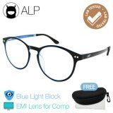 โปรโมชั่น Alp Emi Computer Glasses แว่นคอมพิวเตอร์ กรองแสงสีฟ้า Blue Light Block กันรังสี Uv Uva Uvb กรอบแว่นตา แว่นสายตา แว่นเลนส์ใส Vintage Oval Style รุ่น Alp E017 Bks Bl Emi Black Clear ไทย
