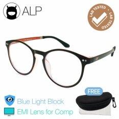 ขาย ซื้อ Alp Emi Computer Glasses แว่นคอมพิวเตอร์ กรองแสงสีฟ้า Blue Light Block กันรังสี Uv Uva Uvb กรอบแว่นตา แว่นสายตา แว่นเลนส์ใส Vintage Oval Style รุ่น Alp E017 Bks Or Emi Black Clear