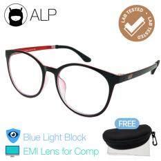 ขาย Alp Emi Computer Glasses แว่นคอมพิวเตอร์ กรองแสงสีฟ้า Blue Light Block กันรังสี Uv Uva Uvb กรอบแว่นตา แว่นสายตา แว่นเลนส์ใส Vintage Oval Style รุ่น Alp E020 Bks Rd Emi Black Clear Alp เป็นต้นฉบับ