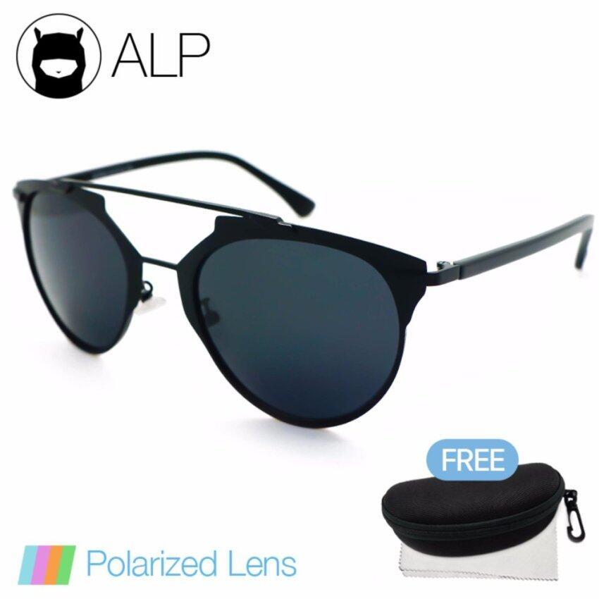 daeeb26394a ALP Polarized Sunglasses แว่นกันแดด Vintage Style รุ่น ALP-0092-BKT-BKP (