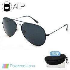 โปรโมชั่น Alp Polarized Sunglasses แว่นกันแดด Aviator Style รุ่น Alp 3025 Bkt Bkp Black Black Alp