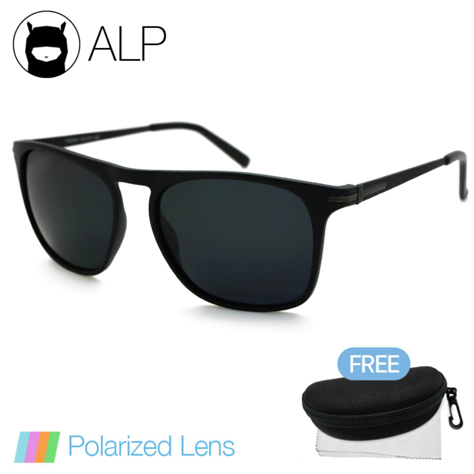 ALP Polarized Sunglasses แว่นกันแดด Wayfarer Style รุ่น ALP-0091-BKT-BKP (Black/Black)