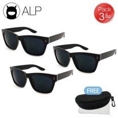 ราคา Alp ขายส่ง Sunglasses แว่นกันแดด Wayfarer Style รุ่น Alp 0013 Bkt Bk Black Black X 3 ชิ้น เป็นต้นฉบับ
