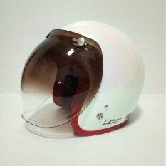ราคา Altrax หมวกกันน็อควินเทจ รุ่น Lazor สีขาวมุกประกาย นวมแดง คิ้วแดง ถอดซักได้ พร้อมแว่นBubble สีทูโทน Avex เป็นต้นฉบับ