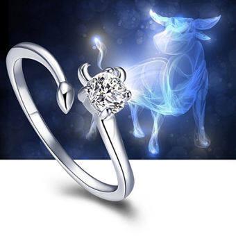 Amart สิบสองกลุ่มดาวแหวน 925 เงินปรับแหวนเครื่องประดับ (Taurus) - INTL-