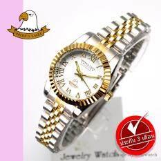 ราคา America Eagle นาฬิกาข้อมือผู้หญิง สายสแตนเลส รุ่น Ae022L Silvergold White ที่สุด