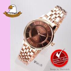 America Eagle นาฬิกาข้อมือผู้หญิง สายสแตนเลส รุ่น Ae078L Pink Gold Brown ใหม่ล่าสุด