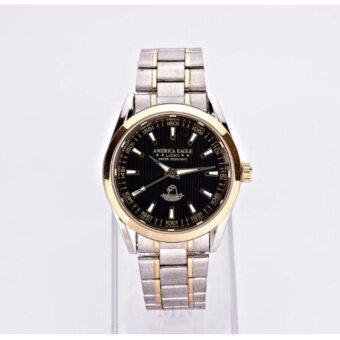 AMERICA EAGLE นาฬิกาข้อมือผู้หญิง หน้าปัดสีดำขอบทองสายStainlessรุ่น LUCKY AE023G