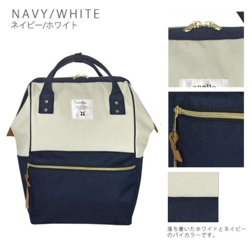 Anello - Polyester canvas Mini Rucksack  สีขาวน้ำเงิน