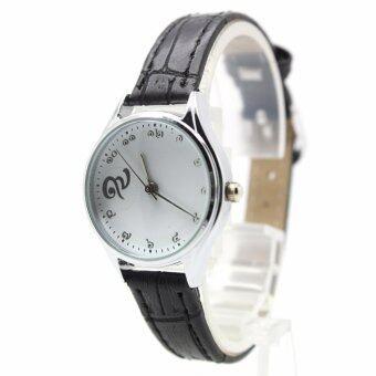 Aopol Watch นาฬิกาที่ระลึก (รัชกาลที่ ๙) สุภาพสตรีและเด็ก สายหนังดำ ระบบเข็ม ตัวเรือนเงิน หน้าปัดขาว (เลขไทย) AP9-8