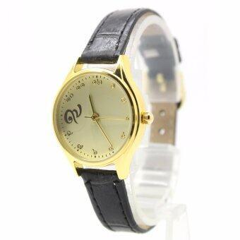 Aopol Watch นาฬิกาที่ระลึก (รัชกาลที่ ๙) สุภาพสตรีและเด็ก สายหนังดำ ระบบเข็ม ตัวเรือนทอง หน้าปัดทอง (เลขไทย) AP9-10
