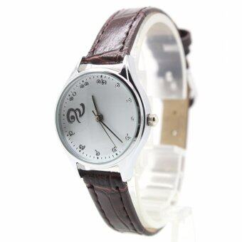 Aopol Watch นาฬิกาที่ระลึก (รัชกาลที่ ๙) สุภาพสตรีและเด็ก สายหนังน้ำตาล ระบบเข็ม ตัวเรือนเงิน หน้าปัดขาว (เลขไทย) AP9-9