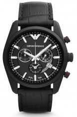 ส่วนลด Armani Emporio Men S Watch Ar6035 Sportivo Chronograph Leather Strap Black กรุงเทพมหานคร