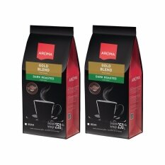 ราคา ราคาถูกที่สุด เมล็ดกาแฟคั่ว Aroma Gold Blend ซองบรรจุ 250 กรัม 2 ซอง