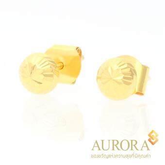 AURORA ต่างหูทองรูปตะปูครึ่งซีกตัดลาย ทองคำแท้ 75%