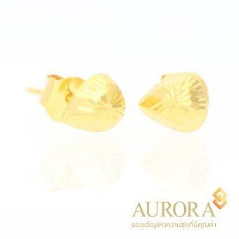 AURORA ต่างหูทองรูปหยดน้ำตัดลาย ทองคำแท้ 75%