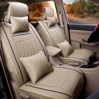 Seat CoversPU Leather Front Rear Full Set All Seasons - Fit Most CarTruckVanBeige Size M - intl