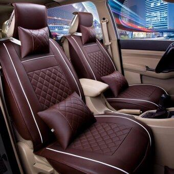Seat CoversPU Leather Front Rear Full Set All Seasons - Fit Most CarTruckVanCoffee Size M - intl