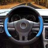 โปรโมชั่น Auto Steering Wheel Covers Diameter 15 Inch Pu Leather For Full Seasons Black And Blue จีน