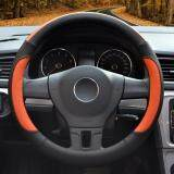 Auto Steering Wheel Covers Diameter 15 Inch Pu Leather For Full Seasons Black And Orange ใน จีน