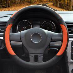 Auto Steering Wheel Covers Diameter 15 Inch Pu Leather For Full Seasons Black And Orange ใหม่ล่าสุด