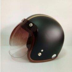 ราคา Avex หมวกกันน็อควินเทจคลาสสิค รุ่นLb High สีดำด้านคาดทอง คิ้วนำ้ตาล ผ้านำ้ตาล พร้อมชิวBubble สีทูโทน ใหม่ล่าสุด