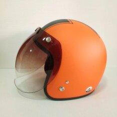 Avex หมวกกันน็อควินเทจคลาสสิค รุ่นLb Thunder สีส้มด้านสายฟ้าดำ คิ้วดำ ผ้าดำ พร้อมชิว Bubble สีทูโทน ใหม่ล่าสุด