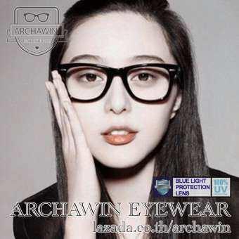 แว่นตากรองแสง แว่นกรองแสงสีฟ้า กรอบแว่นตา แฟชั่น เกาหลี ทรง Wayfarer รุ่น AW 9015 - Black (กรอ งแสงคอม กรองแสงมือถือ ถนอมสายตา)-