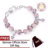ราคา Bamoer Winter Color Pink Glass Charm Beads Bracelet For Women With Pink Crystal Murano Fashion Silver Jewelry Pa1400 ออนไลน์ จีน