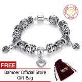ทบทวน Bamoer Antique Silver Charm 20Cm Bracelet Bangle Silver 925 With Heart Pendant For Women Wedding Vintage Jewelry Pa1431