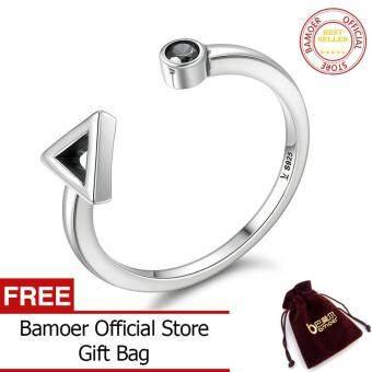 BAMOER จัดส่งฟรี925เงินสเตอร์ลิงรอบเรขาคณิตสามเหลี่ยมแหวนนิ้วมือทรงเปิดสำหรับผู้หญิง Sterling เครื่องประดับเงินของขวัญ SCR144