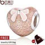 ขาย Bamoer 925 Sterling Silver Pink Bow Lace Heart Transparent Misty Rose Soft Pink Enamel Charm Fit Bracelet Jewelry Psc106 Bamoer ถูก