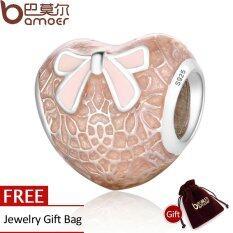 ซื้อ Bamoer 925 Sterling Silver Pink Bow Lace Heart Transparent Misty Rose Soft Pink Enamel Charm Fit Bracelet Jewelry Psc106 จีน